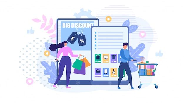Mensen winkelen online metafoor cartoon advertentie