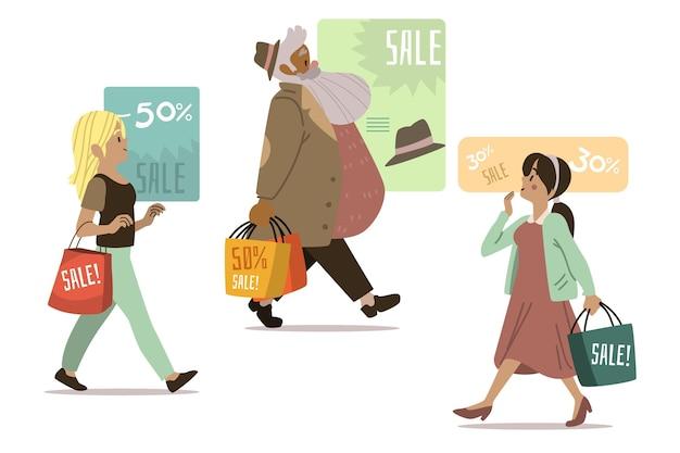 Mensen winkelen platte hand getrokken stijl