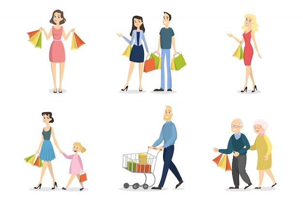 Mensen winkelen set. gezinnen en stellen met tassen.