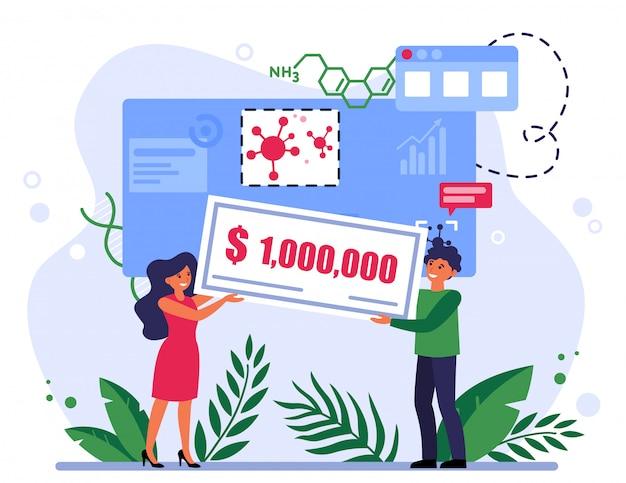 Mensen winnen een beurs voor coronavirusonderzoek