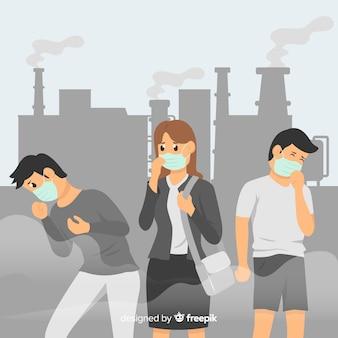 Mensen wonen in een stad vol vervuiling