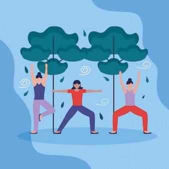 Mensen yoga buiten in vlakke stijl