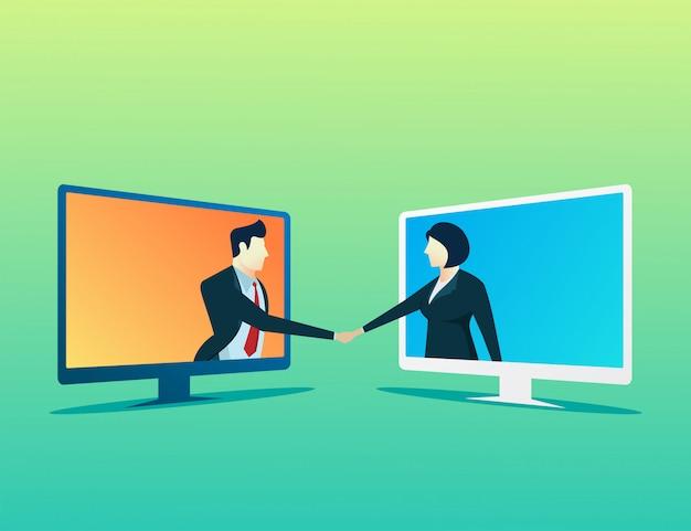 Mensen zakenman en vrouw online deal