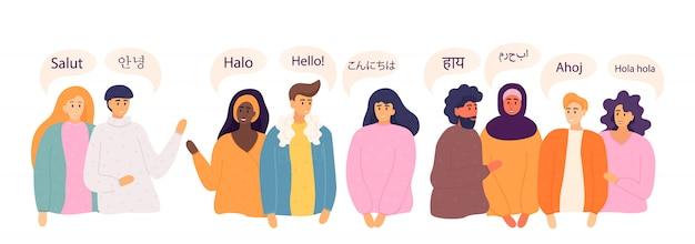 Mensen zeggen hallo in verschillende talen. diverse culturen, internationaal communicatieconcept. moedertaalsprekers, vriendelijke mannen en vrouwen.