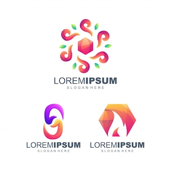 Mensen zeshoek gradiënt logo