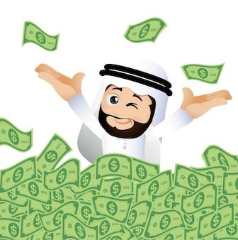 Mensen zetten arabische zakenlieden op stapel contant geld
