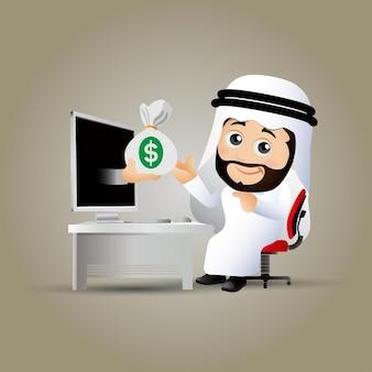 Mensen zetten arabische zakenmensen achter de computer