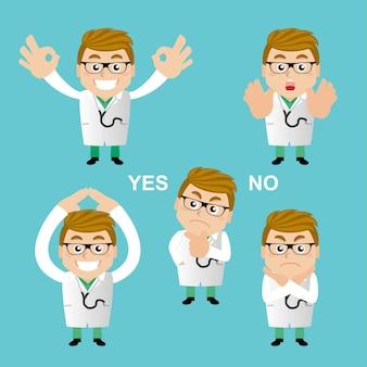 Mensen zetten beroep arts in verschillende poses