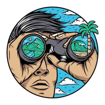 Mensen zien de natuur door een verrekijker