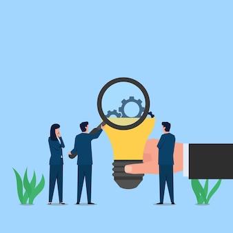 Mensen zien uitrusting op de lamp van vergroten metafoor van ideeverwerking