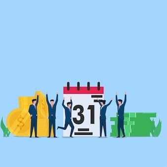 Mensen zijn blij met de salarisbetaling aan het einde van de maand. zakelijke platte concept illustratie.