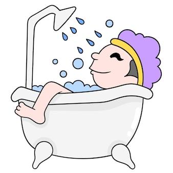 Mensen zijn verfrissend badend in de badkuip, vectorillustratiekunst. doodle pictogram afbeelding kawaii.