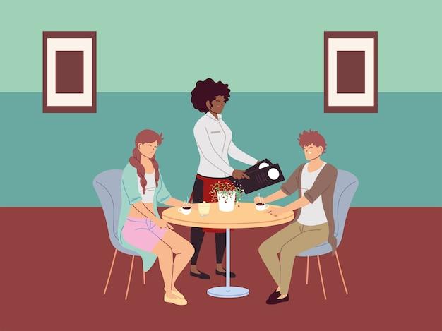 Mensen zitten aan tafel en bestellen een maaltijd