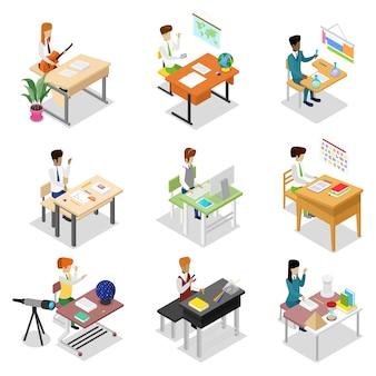 Mensen zitten aan tafel isometrische 3d-set