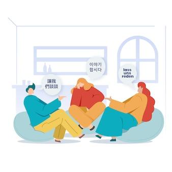Mensen zitten binnenshuis en praten in verschillende talen