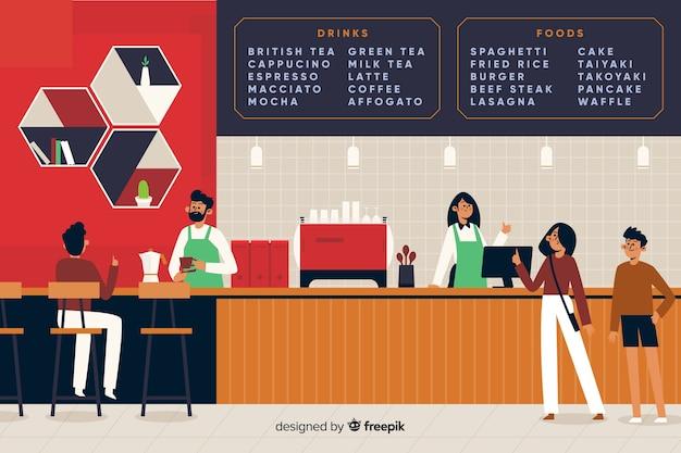 Mensen zitten in café in plat ontwerp