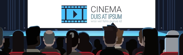 Mensen zitten in de bioscoop kijken naar leeg scherm te wachten voor film start terug achteraanzicht horizontaal b