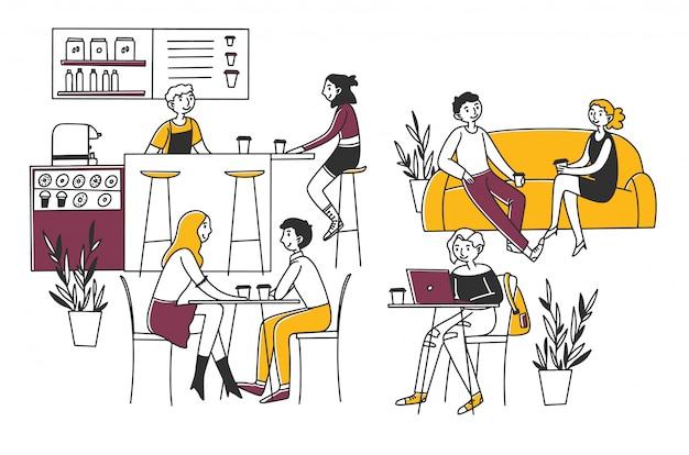 Mensen zitten in een café, drinken koffie en werken op laptops