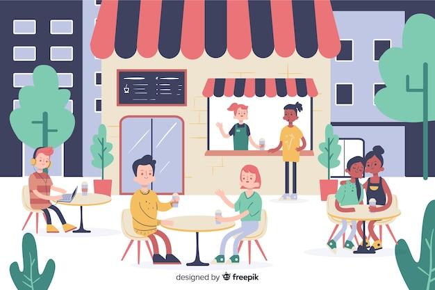 Mensen zitten in een café