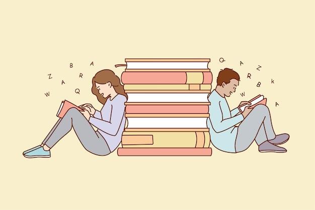 Mensen zitten in het weekend in de buurt van stapels boeken