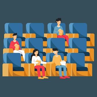 Mensen zitten in stoelen in bioscoop of bioscoopzaal