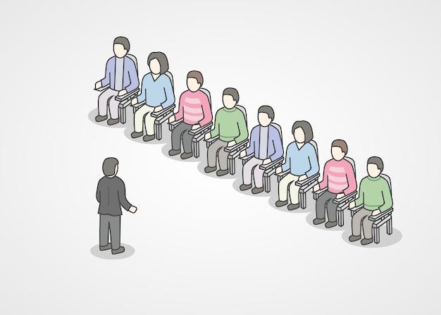 Mensen zitten in stoelen op het publiek