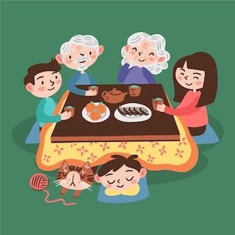 Mensen zitten rond een kotatsu-tafel en spelende kinderen