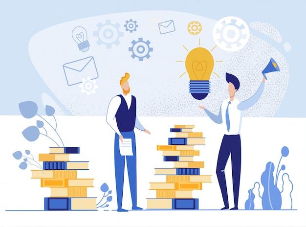 Mensen zoeken naar ideeën uit boeken.
