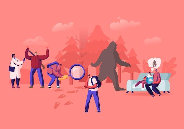 Mensen zoeken yeti, afschuwelijke sneeuwman, sprookjes lezend over bigfoot-personage, ruig beest bedekt met lang bruin haar dat rechtop door het bos loopt, ooggetuige. cartoon vectorillustratie
