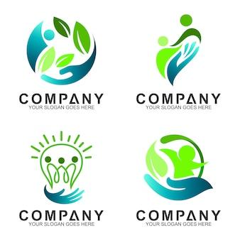 Mensen zorgen voor een plat logo-ontwerp