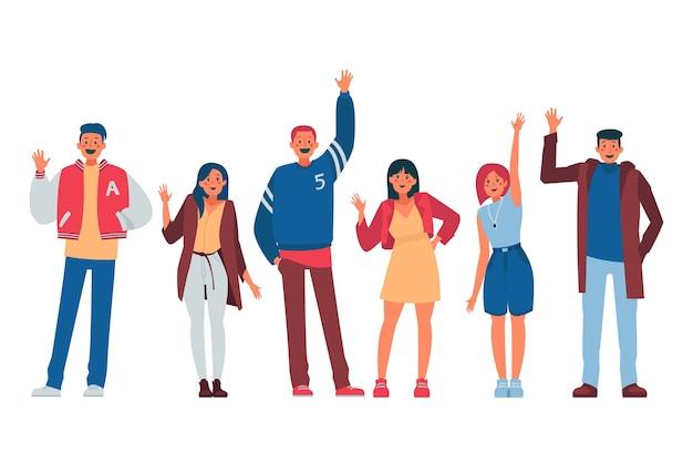 Mensen zwaaien hand illustratie concept
