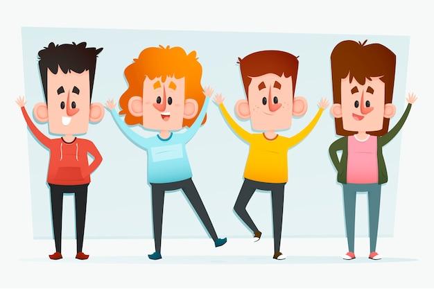 Mensen zwaaien hand illustratie plat ontwerp
