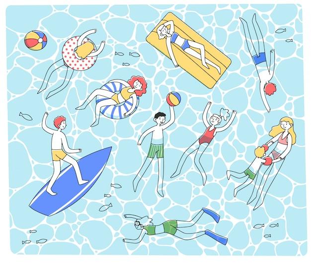 Mensen zwemmen in duidelijke zee illustratie