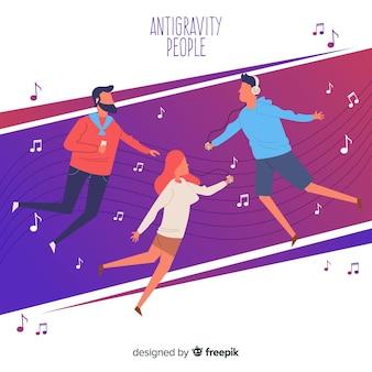 Mensen zweven en luisteren naar muziek