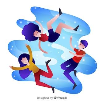 Mensen zweven in de lucht