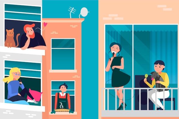 Mensenactiviteit op balkonconcept