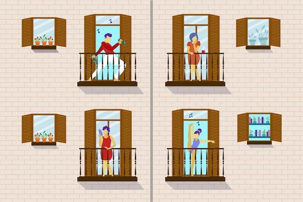 Mensenactiviteit op balkonthema