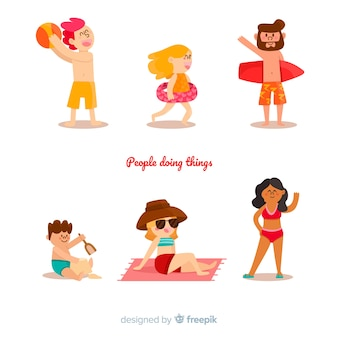 Mensenactiviteiten bij strand