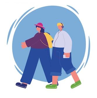 Mensenactiviteiten, jonge man luisteren muziek en meisje met rugzak wandelen