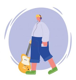 Mensenactiviteiten, jonge mens met elektrische gitaar en hoofdtelefoons het luisteren muziek