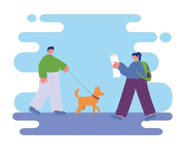 Mensenactiviteiten, man die met hond loopt en vrouw die krant leest