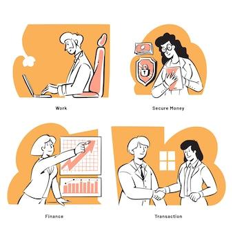 Mensenactiviteiten voor bedrijfsinvesteringsconcept