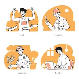 Mensenactiviteiten voor het opstarten van bedrijfsconcept