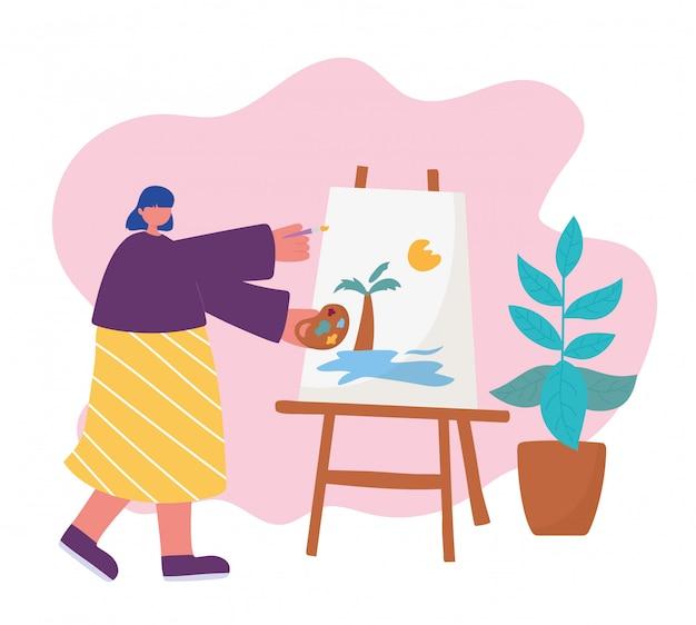 Mensenactiviteiten, vrouwenkunstenaar die op canvas trekken die paletkleur in hand en borstel houden