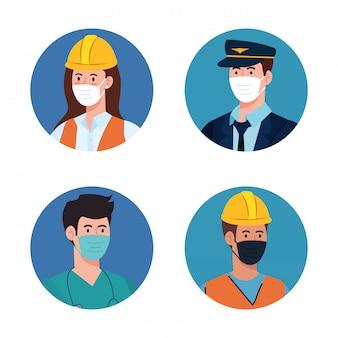 Mensenarbeiders met uniformen en werkmaskers