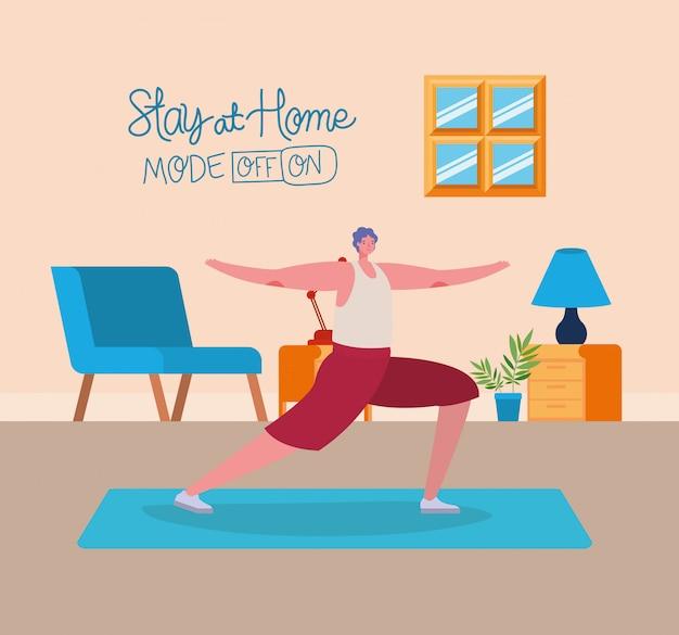 Mensenbeeldverhaal die oefeningsontwerp van thuis blijven doen en de illustratie van het activiteitenthema