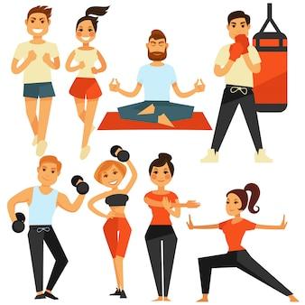 Mensenfitness en sportoefening of opleidings vectorpictogrammen
