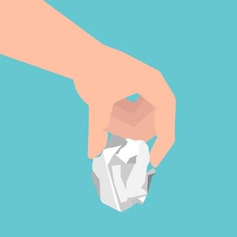 Mensenhand die een verfrommeld document blad houden. vectorillustratie in vlakke stijl.