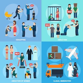 Mensenhandel 4 plat pictogrammen vierkant