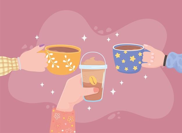 Mensenhanden met koffiekopje, verse koude en warme drankillustratie